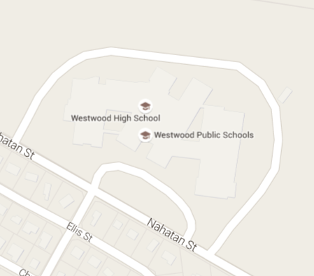 Map of Westwood High School and link to live Google Map.
