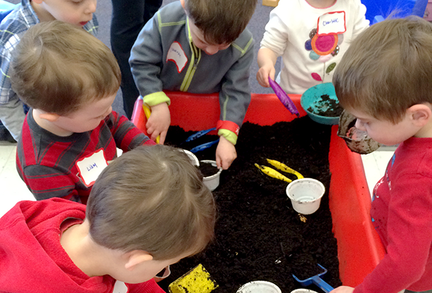 children playing together in a sensory table