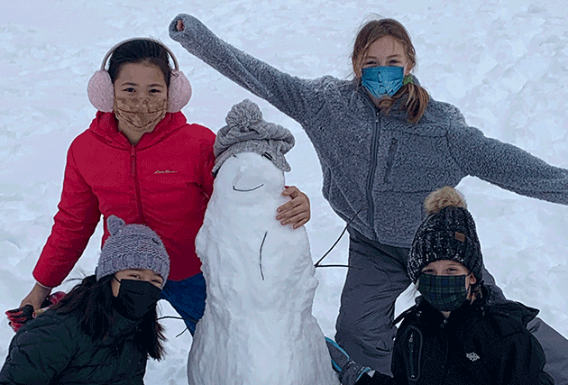 Students, Winter, Snow, Shnowman