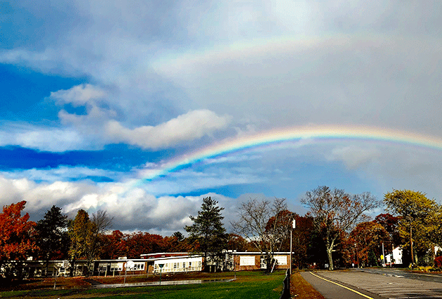 A gorgeous rainbow over the Hanlon School