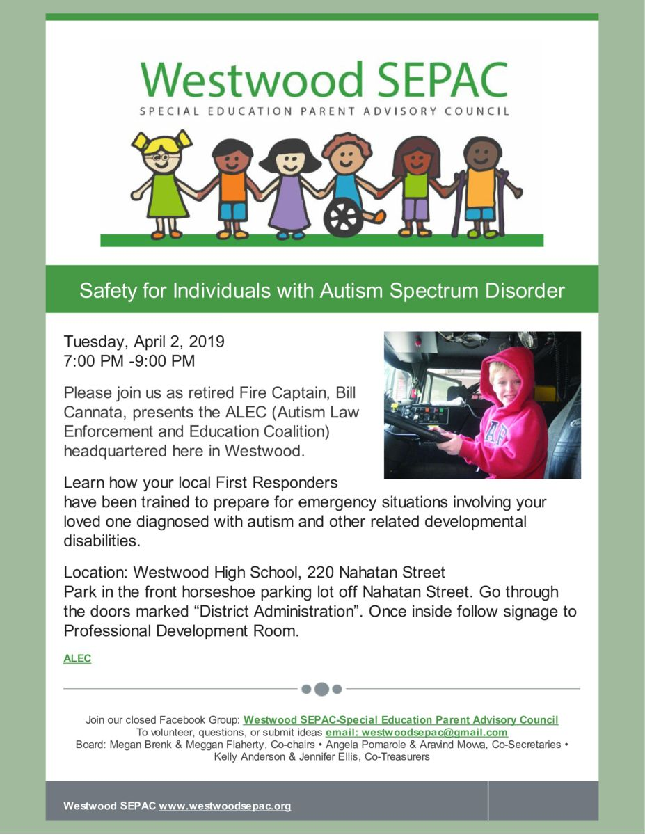 Safety for Individuals with Autism Spectrum Disorder color flyer