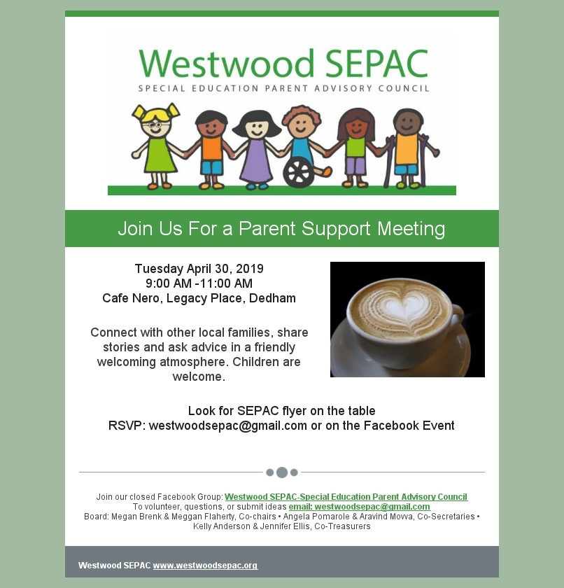 SEPAC Parent Support meeting 4/30/19 color flyer