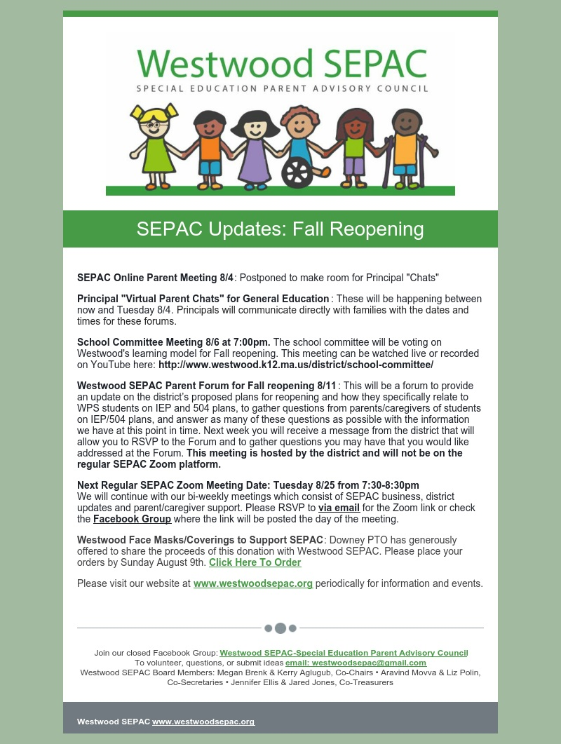 Color flyer SEPAC upcoming online parent meeting