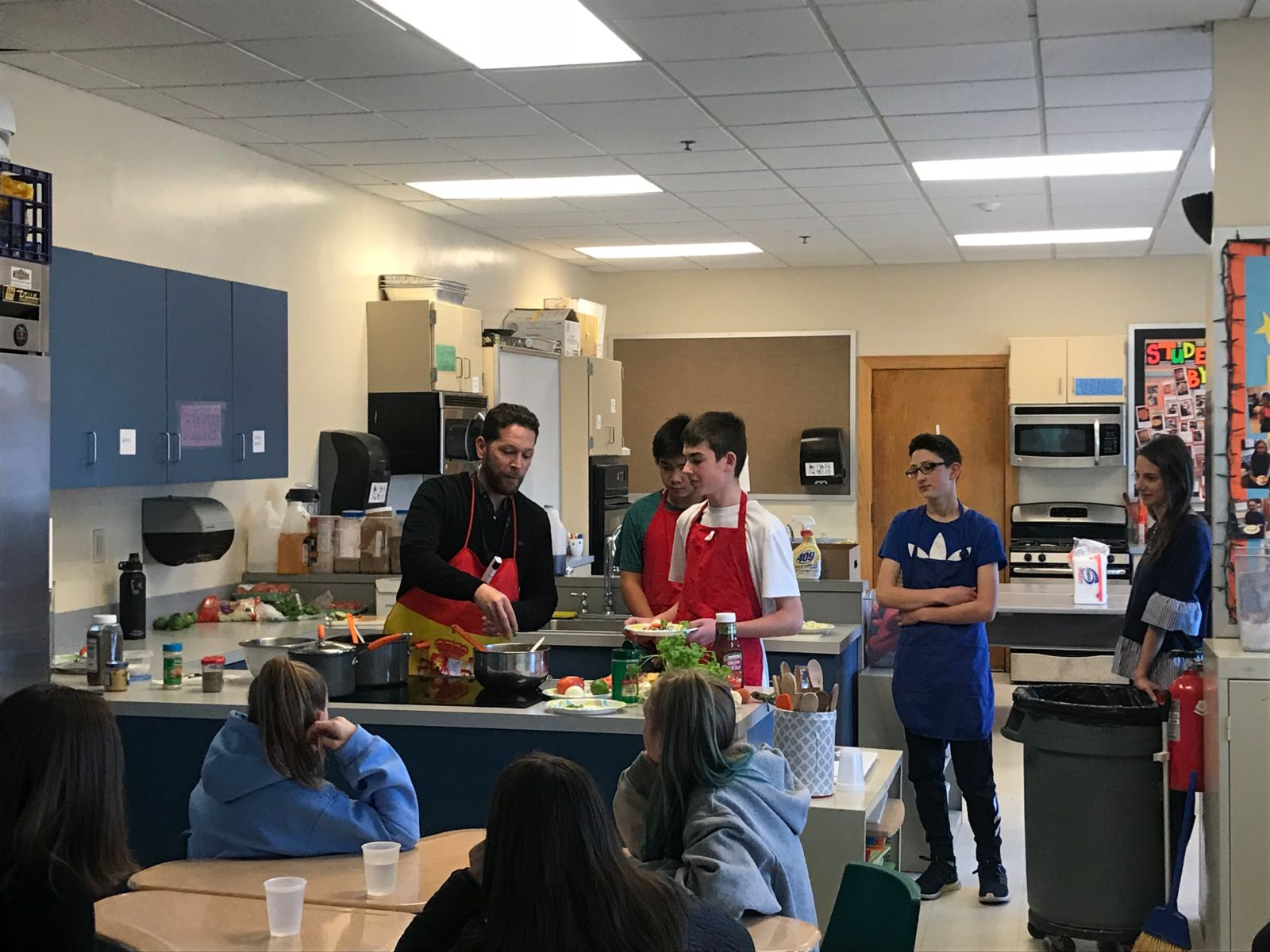 8th Grade Students Cooking in Spanish Class