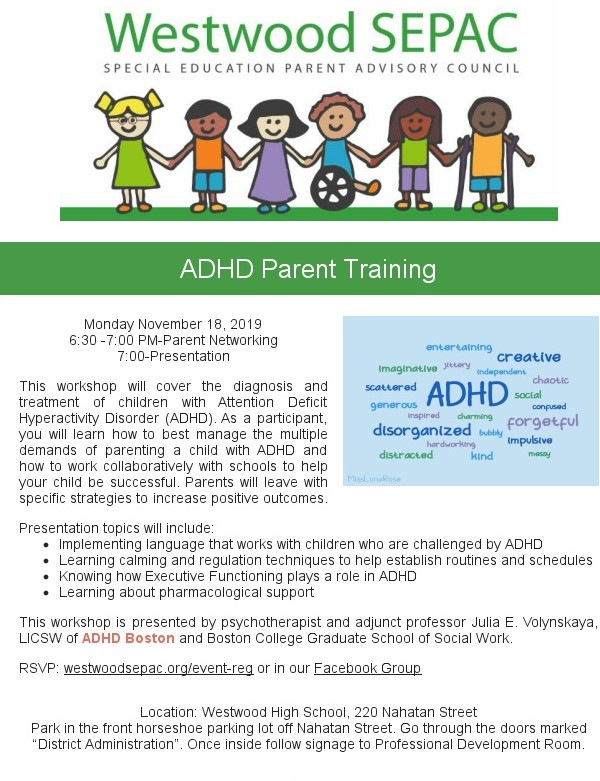 Color flyer for ADHD Parent Training